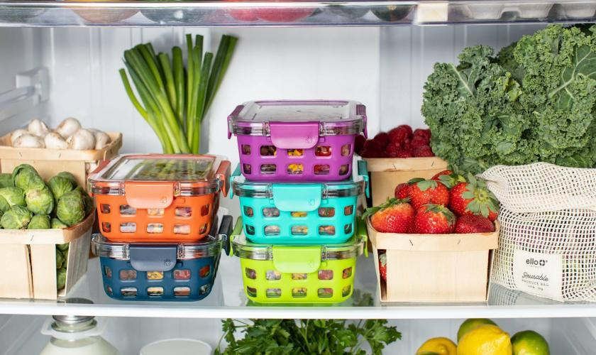 fruits and vegetables in a chiller